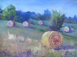 September Harvest-Hay Bales, New Contemporary Landscape Painting by Sheri Jones