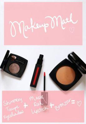 A Makeup Math Formula: Taupe Eyeshadow + Matte Red Lips + Bronzer = Easy Elegance