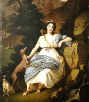 1787 Allegory of Diana Goddess of the Hunt with faithful Dogs
