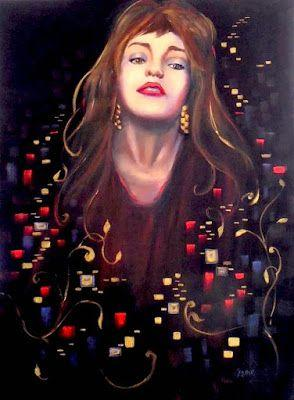 Rouge et Or, Oil Painting on Canvas, Portrait of Woman with Red and Gold
