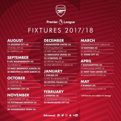 2017-18 Arsenal fixtures released by Premier League: Easy Emirates start but early away games very tough