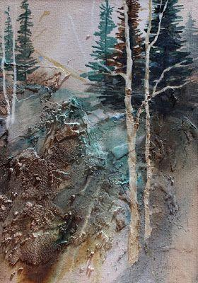 "Abstract Landscape,Mixed Media ""Into the Woods 2"" by Carol Nelson Fine Art"