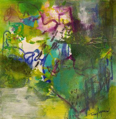 """Expressionism, Contemporary Art, Mixed Media Abstract Painting, """"Blue Bayou"""" by Contemporary Artist Tracy Lupanow"""