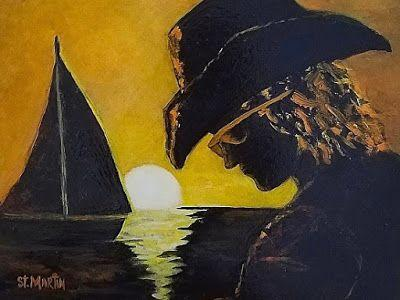 Contemporary Portrait Painting, Sailboat, Sunset