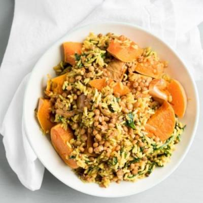 Roasted Squash with Rice + Lentils