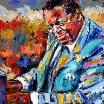 "Abstract Jazz Art Portrait, Music Art Paintings ""Oscar Peterson"" by Texas Artist Debra Hurd"