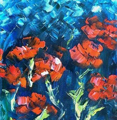 "Abstract Flowers,Palette Knife Oil Painting ""Moonlit Poppies"" by Colorado Impressionist Judith Babcock"