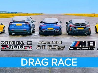 M8 Competition, AMG GT 63 S, R8 Performance, Model X and Carrera 4S Line Up For Drag Race