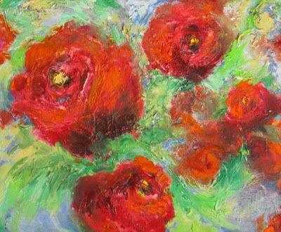 """Roses in Motion"" Original abstract rose oil on canvas by Janice Trane Jones"