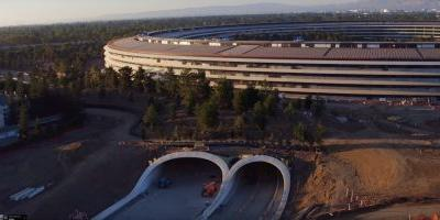 New Apple Park drone video shows work on landscaping & visitor's center continue