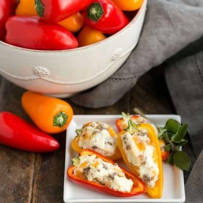 Cream Cheese and Sausage Stuffed Mini Peppers