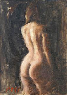 """""""Amber"""" female nude back 5×7 painting"""