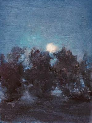 Autumn Evening - landscape nocturne oil painting