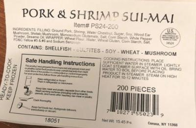 Pork/shrimp dumplings recalled for misbranding, egg allergen