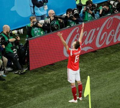 Russia on brink of last 16 at World Cup, beats Egypt 3-1