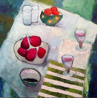"Contemporary Expressionist Still Life Art Painting ""For Two"" by Santa Fe Artist Annie O'Brien Gonzales"