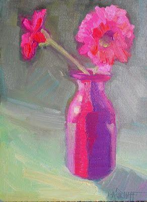Pink Flower Painting, Daily Painting, Small Oil Painting, 6x8