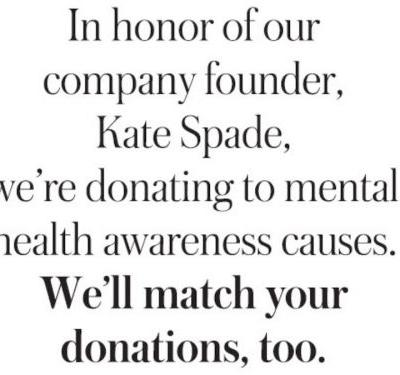 The Kate Spade brand is donating $1 million to mental health organizations