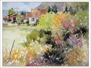 A Glimpse Beyond The Brambles, France..Watercolor..Texas Artist..Rae Andrews