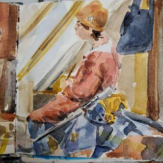 Direct Watercolor - Boy at Jousting Tournament