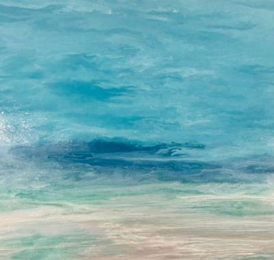 "Contemporary Beach Art, Abstract Seascape Painting, Coastal Art ""Sea Spray"" Skillern's Seas Series by International Contemporary Landscape Artist Kimberly Conrad"