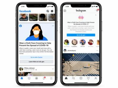Facebook and Instagram will remind you to wear a mask atop your feed