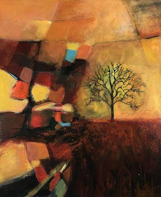 "Expressionism Art, Contemporary Art, Tree, Abstract Landscape Art For Sale ""BE LIKE THAT OAK"" by Contemporary Artist Liz Thoresen"