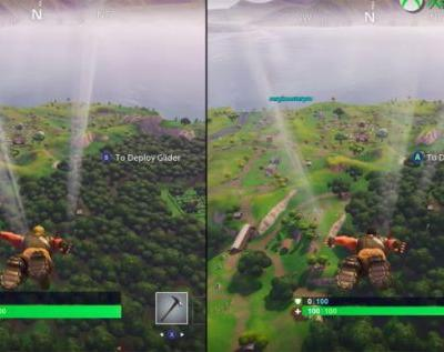 Fortnite on Nintendo Switch and Xbox One X side-by-side comparison