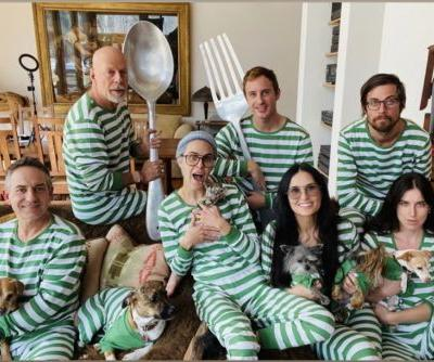 Exes Demi Moore and Bruce Willis quarantine with kids in matching pajamas