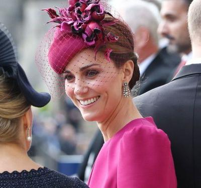 Kate Middleton wore a hot pink outfit to Princess Eugenie's wedding that was a huge departure from her usual style