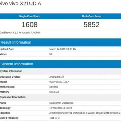 Vivo X21 UD Appears On Geekbench With 6GB Of RAM, SD660 SoC