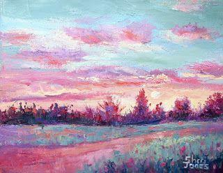 Green Sky, New Contemporary Landscape Painting by Sheri Jones