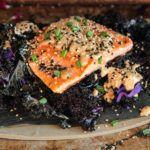 Crispy Sesame Almond Ginger Salmon with Garlicky Kale