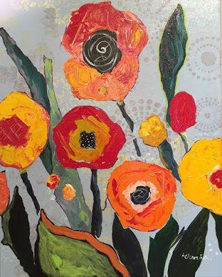 "Contemporary Expressionist Still Life Fine Art Painting ""EVERYTHING'S COMING UP POPPIES"" by Oklahoma Artist Nancy Junkin"