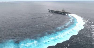Watch a 100,000-ton US aircraft carrier make hairpin turns and do donuts at surprising speed