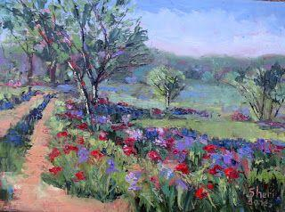 Poppy Garden, New Contemporary Landscape Painting by Sheri Jones