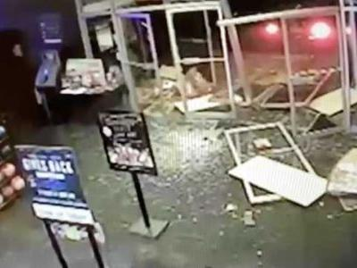 CAUGHT ON CAM: Man drives stolen car into front of bowling alley, sheriff's office says