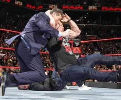 Stone Cold Steve Austin Stuns Vince And Shane McMahon On WWE Raw's 25th Anniversary