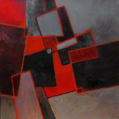 "Geometric abstract, ""A Scattering of Red"" © Carol Nelson Fine Art"