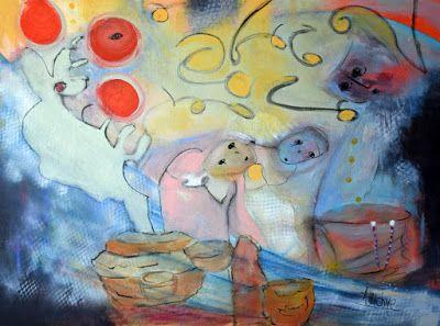 "Abstract Art, Expressionism Painting ""Family Fairytales"" by International Contemporary Abstract Artist Arrachme"