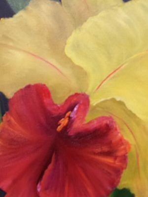 Red and Yellow Orchid,oils canvas,Barbara Haviland,Floral Artist