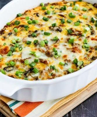Low-Carb Breakfast Casserole with Italian Sausage, Mushrooms, and Cheese