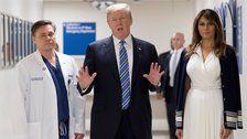Trump Visits Shooting Victims, Local Police En Route To Mar-a-Lago For Long Weekend