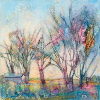 "Contemporary Abstract Landscape , Tree Art Painting ""Shelter in Plain Sight"" by Texas Artist Holly Hunter Berry"