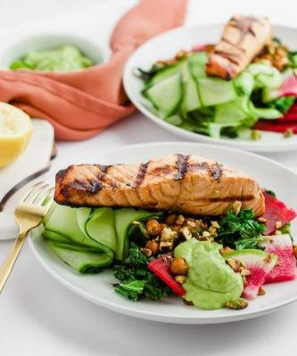 Grilled Salmon Salad with Crispy Chickpeas and Avocado Dressing