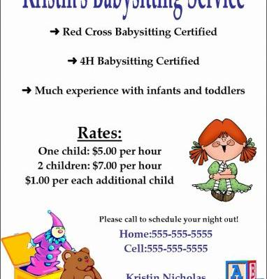 30 Lovely Free Babysitting Flyer Template Images