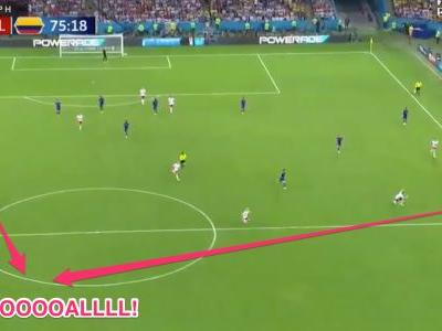 Colombia's James Rodriguez pulled off a mind-blowing pass that somehow bent around 3 defenders and led to a goal