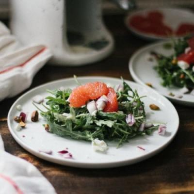 Grapefruit goat cheese salad