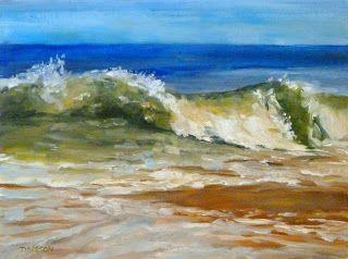 Ocean Wave Summer Vacation Landscape Seascape Painting Water Sky Waves Art
