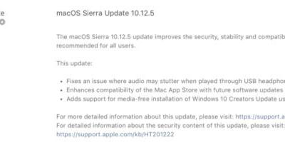 MacOS 10.12.5 update fixes bugs, supports Windows 10 Creators Update in Boot Camp